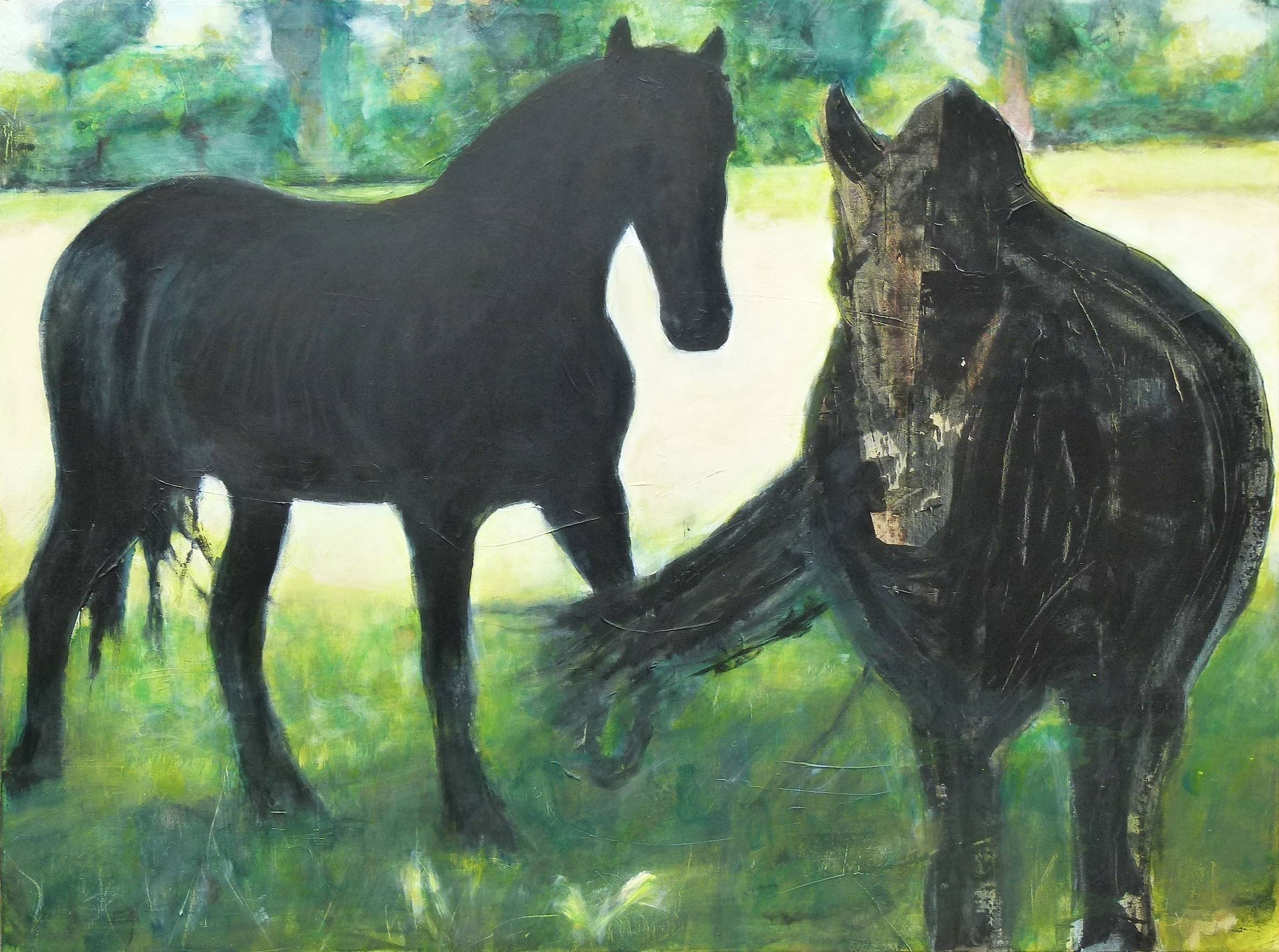 2014. Out of focus,  paarden Oud Avereest. Mixed media.  120x160 cm.